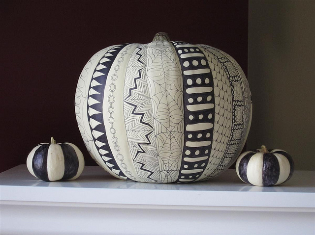 black & white hand painted pumpkins