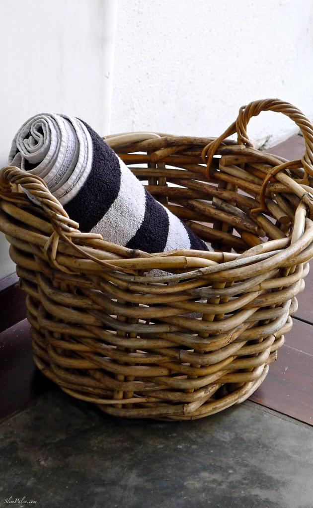 wicker basket with towel