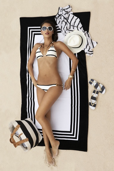 black & white striped bikini