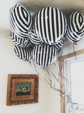 black & white striped balloons